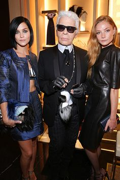 Leigh Lezark, Karl Lagerfeld, and Clara Paget.