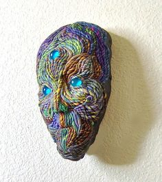 Wall Sculpture Alien Face Mask Blue Eyed OOAK