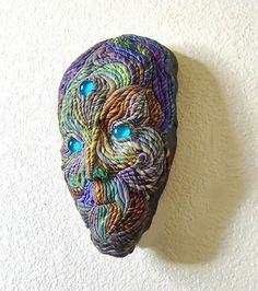 Wall Sculpture Alien Face Mask Blue Eyed OOAK by JanePriserArts, $55.00