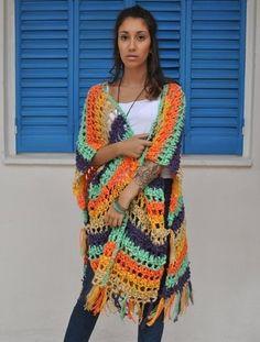 Crochet Cardigan, Knit Or Crochet, Crochet Scarves, Crochet Shawl, Crochet Clothes, Crochet Hooks, Crochet Capas, Poncho Shawl, Crochet Fashion