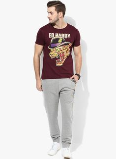 a7a0ae43d0c Buy Ed Hardy Maroon Printed Regular Fit Round Neck T-Shirt Online - 5738958  - Jabong