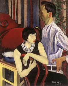 Painter and His Model (1927) by Geza Voros (1897-1957), Hungarian (artistsandart)