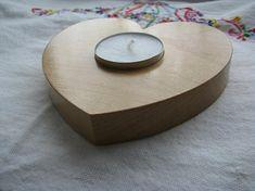 Solid Maple Hardwood Candle Holder, Handmade Heart Shape Candleholder, Natural Wood Tea Light, Wedding Decor, Anniversary Gift Ready To Ship