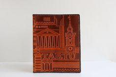Vintage Leather Book Covers, Embossed Soviet Notebook or Diary Covers, Brown, Genuine Tooled Leather Souvenir, USSR on 1980s by LittleRetronome