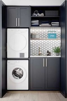 37 Beautiful Small Laundry Room Makeover Ideas - Its one of the most used rooms in the house but it never gets a makeover. What room is it? The laundry room. Almost every home has a laundry room and . Laundry Room Wall Decor, Laundry Room Layouts, Laundry Room Remodel, Laundry Room Organization, Laundry In Bathroom, Laundry Closet, Organization Ideas, Storage Ideas, Laundry Area