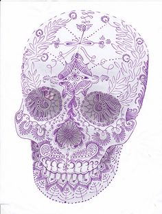 THIS is the kind of dia de los muertos tattoo that I want -- the shading and objects creating a skull formation. This is it.