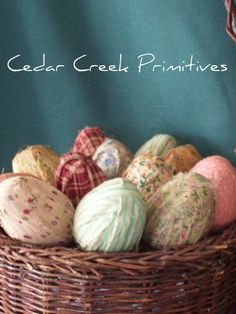 One Dozen  Primitive Rag Eggs by cedarcreekprimitives on Etsy, $15.00