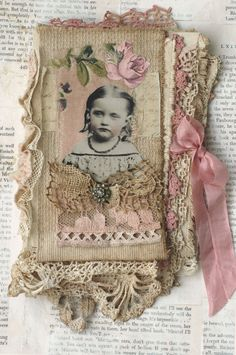 MIXED MEDIA FABRIC COLLAGE OF GIRLS WITH ROSES | eBay