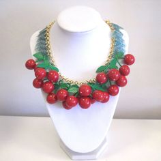 Myfaunaflora Red Cherry Statement Necklace. $92.00, via Etsy.
