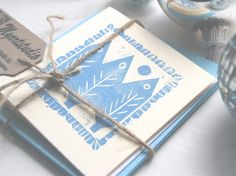 Christmas card set of four hand printed cards.