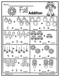 Practice addition facts with these fun worksheets. Picture supported as well as traditional numeral addition. Worksheets include addition within and Kindergarten Addition Worksheets, 1st Grade Math Worksheets, Kindergarten Math Worksheets, Math Literacy, Fun Worksheets, Fall Preschool Activities, Preschool Math, Math For Kids, Addition Facts