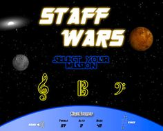 Staff Wars app - just like the desktop version.  Star Wars-themed note reading for treble, alto and bass clefs.