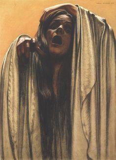 Carlos SCHWABE :: Study for La Vague (3), 1907