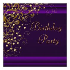 Purple Gold Champagne Birthday Party Gifts - T-Shirts, Art, Posters & Other Gift Ideas | Zazzle