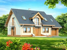 DOM.PL™ - Projekt domu DN Karmelita mała CE - DOM PC1-01 - gotowy koszt budowy Design Case, Malaga, Beautiful Homes, House Plans, Farmhouse, Outdoor Structures, Cabin, Mansions, House Styles