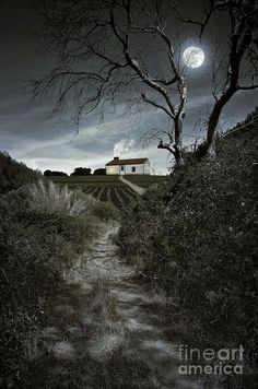 Moody night scene with full moon over a foot trail leading to an isolated house in Portugal