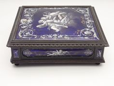 "Exquisite Antique French Limoges ""Putti"" Enamel Ebony Casket Hinged Box"