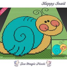 Happy Snail is a graph pattern that can be used to crochet a blanket using C2C (Corner to Corner), TSS (Tunisian Simple Stitch) and other techniques. Alternatively, you can use this graph for knitting, cross stitching and other crafts. This graph design is 100 squares wide by 100 squares high. It requires 4 colors for the character and 2 for the background. Pattern PDF includes: - color illustration for reference - color square pattern Image only, no written counts. This listing is fo...