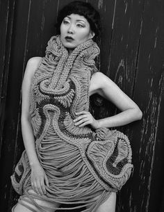 Wearable Art - dress with symmetrical 3D silhouette and intricate woven textiles design - sculptural fashion; fashion armour // Stefanie Nieuwenhuyse