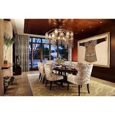 Beautiful chandelier and wall art for opulence in dining room. #rumahkulivingroom