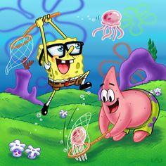 Spongebob, walking with his cute snail, Gary. Spongebob walking with Gary Spongebob Painting, Spongebob Drawings, Cartoon Drawings, Pop Art Wallpaper, Wallpaper Iphone Cute, Disney Wallpaper, Spongebob Best Friend, Funny Spongebob Memes, Spongebob Patrick