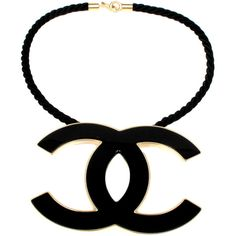 "Pre-Owned Chanel Iconic 4"""" XL CC Necklace - New - Black Gold Charm... (799.085 CRC) ❤ liked on Polyvore featuring jewelry, necklaces, gold, gold charm necklace, yellow gold necklace, black cord necklace, colorful necklace and gold necklaces"
