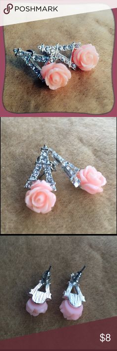 """2/$15 -- Rhinestone Eiffel Tower and Rose Earrings Silver tinted Eiffel Tower earrings covered in tiny rhinestones with a pastel pink rose at the bottom. Never been worn. Approximately 1"""" in length. Jewelry Earrings"""
