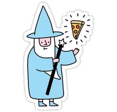 """""""Pizza Wizzard"""" Stickers by obinsun Stickers Cool, Tumblr Stickers, Printable Stickers, Laptop Stickers, Planner Stickers, Accessoires Iphone, Aesthetic Stickers, Doodle Art, Cute Drawings"""