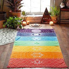 Tapis de Yoga Tapisserie Mandala Murale Suspendre Rainbow Imprimé Couverture Coton Carré 7 Chakras Coloré, pour Serviette de Bain Châle de Plage Home Decor 150 x 75 CM