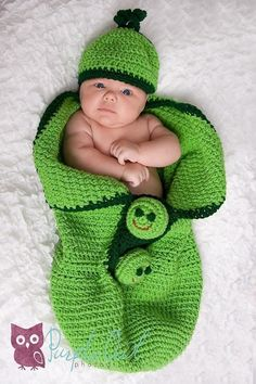 3Peas in a Pod Cocoon and Beanie Crochet by SandysCapeCodOrig