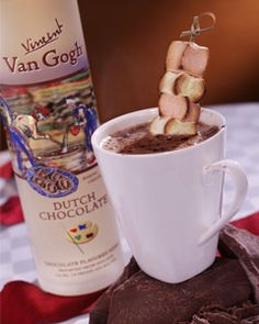 Recipes from The Nest - Hearts Afire 2oz van gogh dutch chocolate vodka 4 oz hot chocolate Roasted marshmallows on a skewer