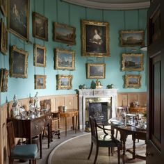curved aqua dining room of Goodwood House ~ portrait of mother of first Duke of Richmond above fireplace