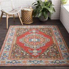 "The Curated Nomad Mariposa Red Traditional Oriental Area Rug - 7'10"" x 10'3"""