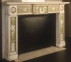 Coloured green fireplace with Wedgwood plasterwork. Willowbrook Park: Come On Baby Light My Fire. Marble Fireplaces, Fireplace Mantels, Lady Lever Art Gallery, Wedgewood China, Mantle Piece, The Potter's Wheel, Light My Fire, Billiard Room, Baby Coming