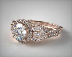 51170 engagement rings, vintage, 14k white gold three stone decorative bridge engagement ring item - Mobile