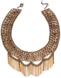 Draped In Metal Fringe Necklace- Antiqued Gold