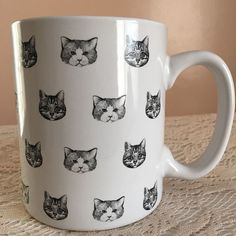 Crazy Cat Lady Coffee Cup Black White Cat Art Rescue Pets Feline VeterinarianNew