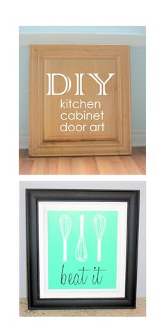 DIY kitchen art made from a cabinet door