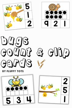My kids love Count and Clip cards activities.  She never has enough, so I created this Bugs count and clip cards for her.  There are over 100 clip cards in this pack.  Your kids would love each one of them!  Perfect for reviewing counting number 1-10. Great for independent activities. Learning Numbers Preschool, Preschool Printables, Learning Letters, Insect Activities, Motor Skills Activities, Subtraction Activities, Math Games, Kindergarten Fun, Printable Letters
