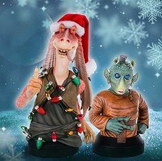 Star Wars Jar Jar Binks with W. Wald Deluxe Collectible Mini Bust Holiday version - 2012 Premier Guild Exclusive. #Starwars #Statue #Figures #Gosstudio