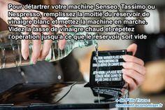 Pas besoin d'acheter des pastilles spéciales détartrantes vendues pour presque 10 €.  Découvrez l'astuce ici : http://www.comment-economiser.fr/detartrer-senseo-tassimo-nespresso.html?utm_content=buffer4f49a&utm_medium=social&utm_source=pinterest.com&utm_campaign=buffer