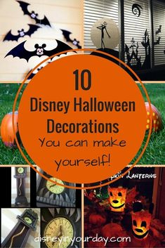 10 Disney Halloween Decorations you can make yourself! Add some Disney fun to your Halloween with these great crafts that are a great mix of sweet and spooky. Disney World Halloween, Disney Halloween Parties, Mickey Mouse Halloween, Halloween Birthday, Holidays Halloween, Halloween Diy, Halloween Stuff, Halloween Halloween, Disney Holidays