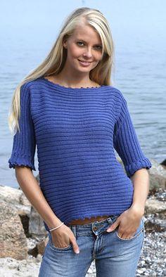 Blusen er helt ens for og bag, den strikkes ud i et fra ærme til ærme Yarn Projects, Drops Design, Knitting Patterns, Sweater Patterns, Crochet Top, Vest, Turtle Neck, Pullover, Sweaters