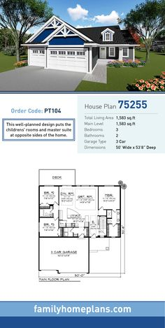Cottage House Plan 75255   Total Living Area: 1,583 SQ FT, 3 bedrooms and 2 bathrooms. This well-planned design puts the children's rooms and master suite at opposite sides of the home. #cottagehome