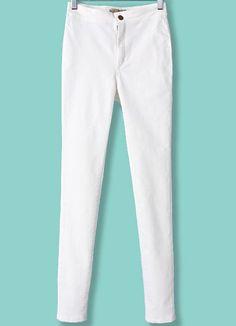 Pantalón elástico cintura alta-blanco EUR€17.37