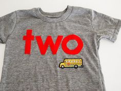 School bus Transportation theme birthday Shirt $30.00, via Etsy.