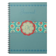 Shabby Chic Rose Red & Blue Monogram Badge Spiral Notebook