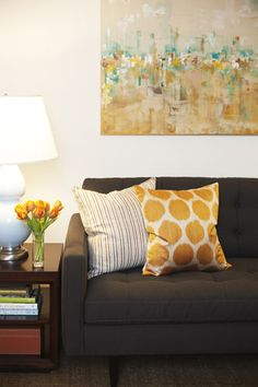 Amanda Teal Design: Modern living room with charcoal gray Crate & Barrel Petrie Sofa, yellow silk ikat ...