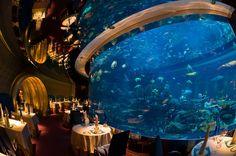 The underwater themed Al Mahara Restaurant in the Burj al Arab Hotel, Dubai, United Arab Emirates Restaurant Hotel, Underwater Restaurant, Underwater House, Burj Al Arab, Hotel Dubai, Dubai Uae, Themed Hotel Rooms, Amazing Aquariums, Dubai Holidays