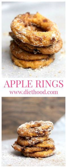 A quick and delicious snack of sliced apple rings dipped in a yogurt batter, fried, and topped with cinnamon-sugar.